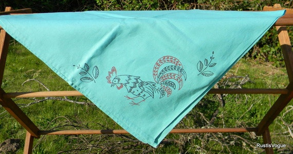 Vintage Linen Table Throw, with Roosters Teal