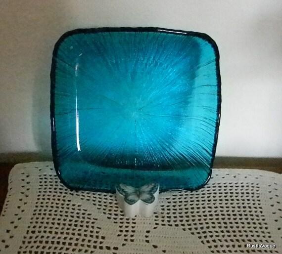 Vintage Blue/Green Glass Serving Dish