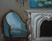 French Bergere Chair Shades of Bleu Miniature Fine Art Print