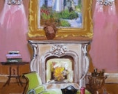 Paris Decor, Warm Paris Nights Fine Art Print, Pink, Chanel, Painting of Interior