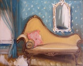 French Furniture, French Settee, Painting of Interior, The Josephine Sofa Fine Art Print Wall Decor