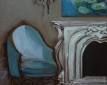 Chair French Bergere Shades of Bleu Miniature Fine Art Print