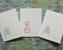 Thank You Cards Set of Folding Note Cards and Envelopes Original French Chair Illustrations