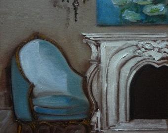 Chair French Bergere Shades of Bleu Miniature Fine Art Print