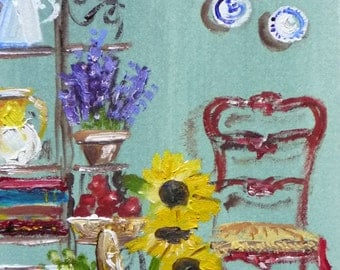 French Country, Provence Kitchen, Miniature Fine Art Print