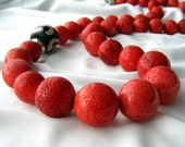 Lusty red coral necklace is long and luxurious - Siren