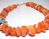 Dramatic orange chalcedony necklace with vintage natural turquoise - Lady Marmalade