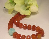 Handmade Necklace - Faceted carnelian and natural aquamarine - Fire and Ice