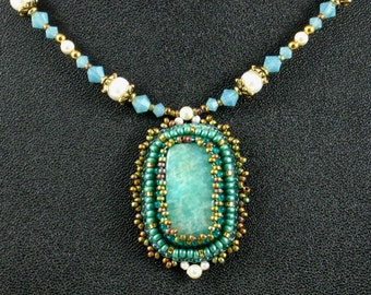 Amazonite Pendant Necklace, Bead Embroidered