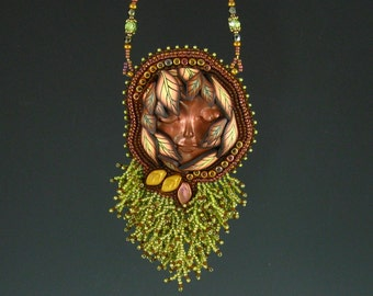 Woodland Nymph Pendant, Copper Brown, Olive Green