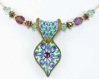 Polymer Clay Lady Slipper Pendant Necklace, Mint Green and Purple