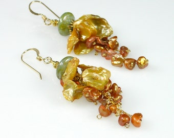 Keishi Pearl Dangle Earrings, Golden Yellow, Bronze, Sage Green