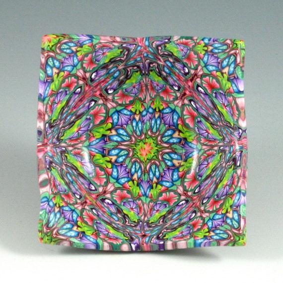 Polymer Clay Ring Bowl, Kaleidoscope Cane, Fuchsia, Blue, Green