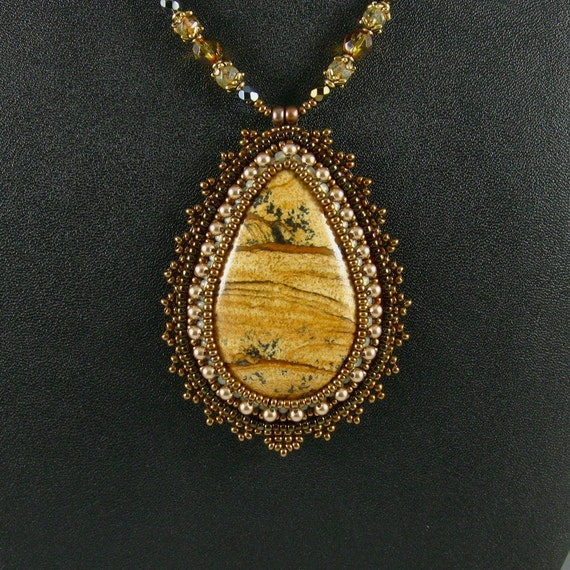 Owyhee Jasper Pendant Necklace, Bead Embroidered