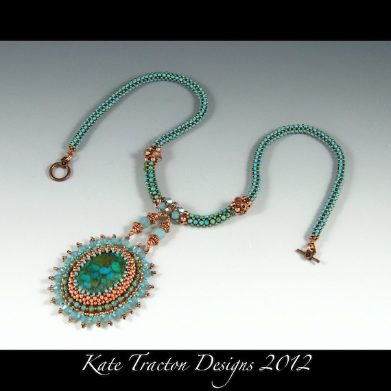 RESERVED Tidepool Pendant, Bead Embroidery Necklace, Turquoise, Copper