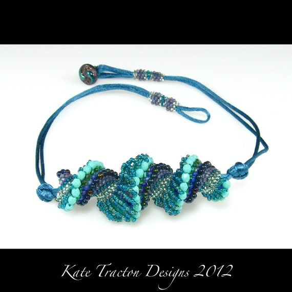 Dutch Spiral Necklace, Teal Blue, Turquoise