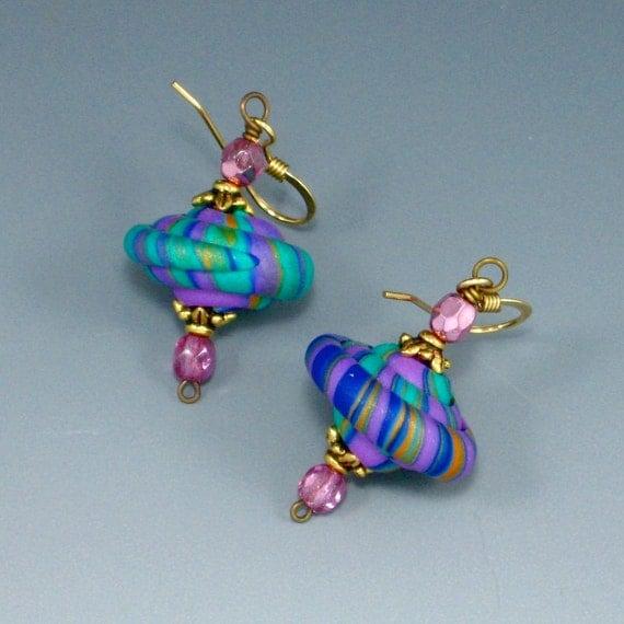 Stacker Bead Earrings, Cobalt Blue, Teal Green, Violet, Polymer Clay