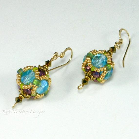Encased Crystal Earrings, Beadweaving, Aqua Blue, Plum Purple