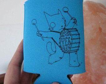 Drummer Cat Beer Cozy