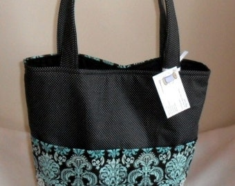 Large Teal and Black Tote Bag Purse NEW PRINT