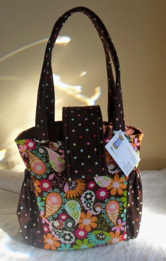 Small Paisley Flowers on Brown Toddler Short Trip Diaper Bag Beautiful LAST ONE