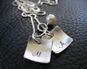 Personalized Hand Stamped Monogram Necklace Square Cupped