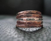 Wedding stacking ring Mixed Metal Rustic Organic hammered