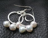 wedding earrings hoop pearl and silver eternity