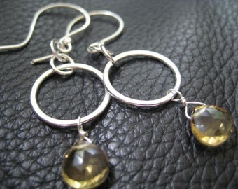 Hoop Earrings Gemstone Beer Quartz