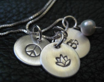 Hand Stamped Charm Necklace, Yoga, Enlighten, Harmony, Peace, Om, Lotus, Valentine
