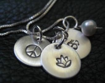inspirational handstamped charm necklace enlighten peace,lotus,om