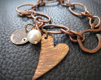 Rustic, Hammered Copper Valentine Heart Chain Link Charm Bracelet