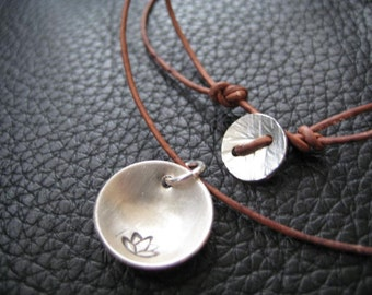Hand Stamped Lotus With Leather Necklace