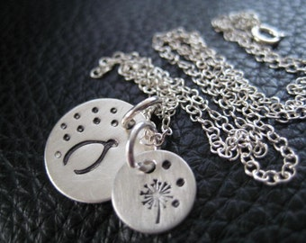 Hand Stamped Necklace Charm Wish Necklace