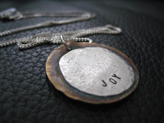 Hand Stamped Charm Necklace Organic Sterling Silver and Copper Necklace Joy