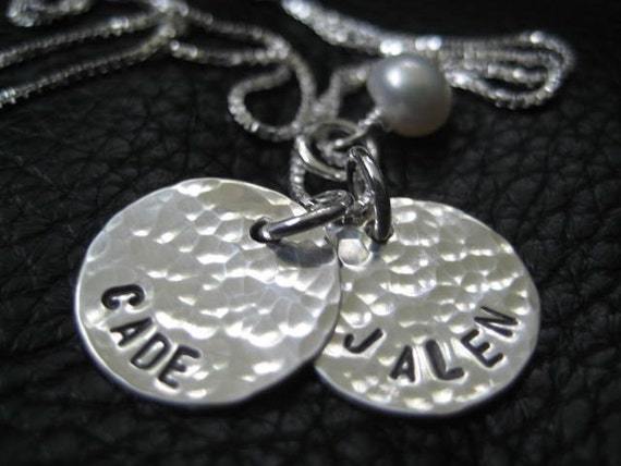 "Hand Stamped Charm, hammered charm, monogram, 5/8"",  22g personalized jewelry, hand stamped necklace"