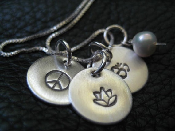 Inspirational Hand Stamped Necklace Enlighten Peace Lotus Ohm