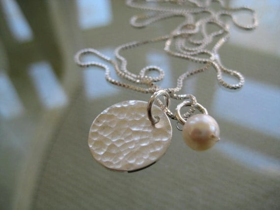 Silver Charm,  Hammered Charm,  Wedding Gifts,  Bridesmaids, Necklace w/ Pearl