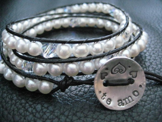 Wedding Bridesmaids Wrap bracelet Leather And Pearl