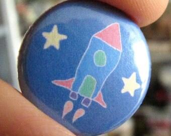 Rocket Ship - Pinback Button or Magnet - Spaceship