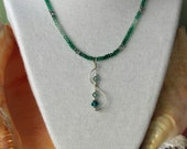 Shaded Green Onyx  Machine Faceted Rondelle necklace with Sterling Drop