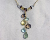 Necklace Cascading  Topaz Briolettes and Green Amethyst   Topaz Nights