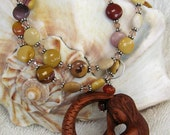 Necklace Hand Carved Mermaid with Mookaite and Swarovski Crystal