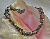 Mermaid Necklace  Multi Strand Pearls and Tourmaline with Swarovski Crystals