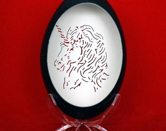 Hand Carved Emu Egg - Unicorn Portrait - DISCOUNTED