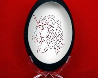 Hand Carved Emu Egg - Unicorn Portrait