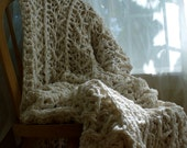 XL White and Cream Crochet Cotton Afghan- Natural - Crochet Cotton Blanket - Crochet Throw Blanket