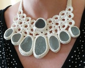 White necklace with 8 rare gray sea glasses - crochet- Genuine English sea glass beach - OOAK -handmade Christmas gift for her Wedding