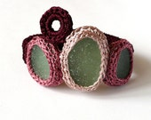Textile bracelet with 3 sea glass crochet Wine red pink burgundy boho English OOAK handmade Birthday autumn gift for her Mother Christmas