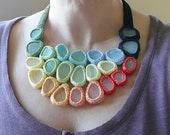 Wedding Rainbow  necklace with 23 white sea glass - crochet - OOAK handmade gift for her extraordinaire Birthday
